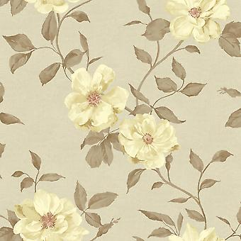 Cream Floral Wallpaper Ideco Chloe Neutral White Flower Pattern Leaf Motif Paper