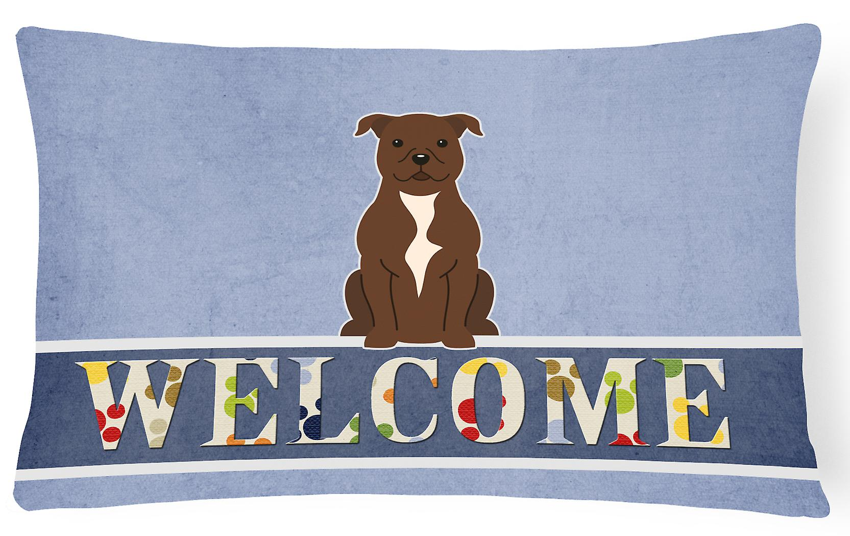 Tissu Au Staffordshire Oreiller Bull Décoratif Terrier Toile Bienvenue Chocolat LjqzMVpGSU