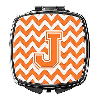 Bogstavet J Chevron Orange og hvid kompakt spejl