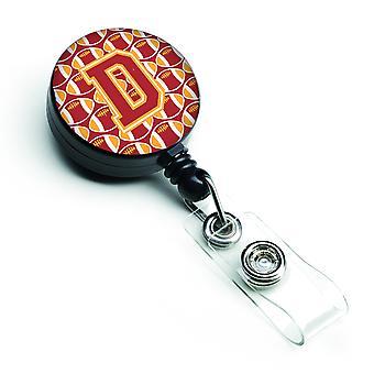 Буква D футбола кардинал и Барабанный золото выдвижной Badge