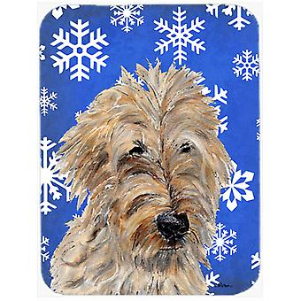 Golden Doodle 2 Winter Snowflakes Mouse Pad, Hot Pad or Trivet