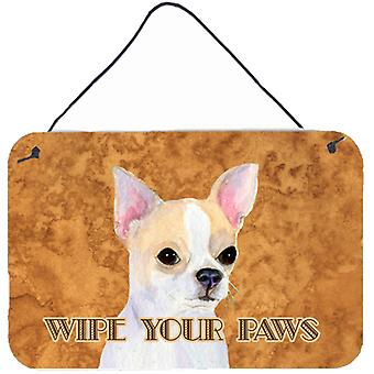 Chihuahua Wipe your Paws Aluminium Metal Wall or Door Hanging Prints