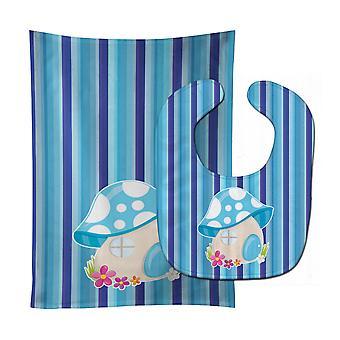 Carolines Treasures  BB6911STBU Fairy House Blue Stripes Baby Bib & Burp Cloth