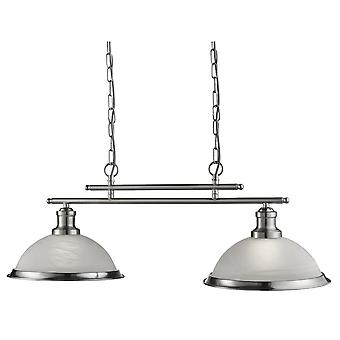 Searchlight 2682-2SS Bistro 2 Light Ceiling Bar Pendant Light Silver
