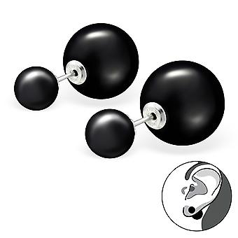 Double  Ball - 925 Sterling Silver Ear Jackets & Double Earrings - W27769x
