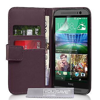 HTC en M8 læder-effekt tegnebog sag - lilla