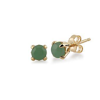 Gemondo grøn Jade runde Stud Øreringe i 9 kt gul guld 4,5 mm klo sæt