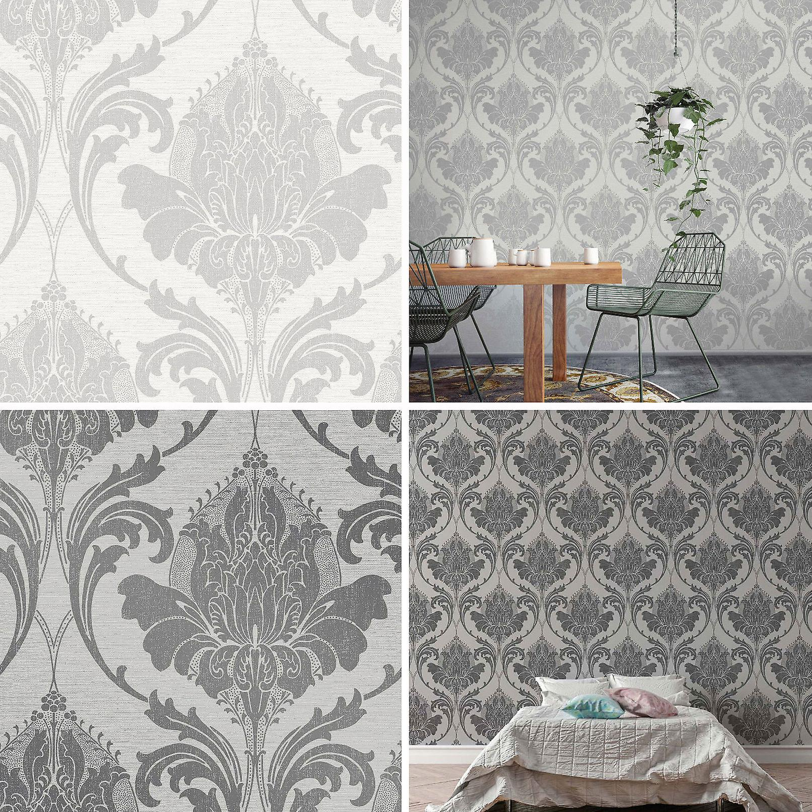 Damask Wallpaper Modern Metallic Linen Sheen Effect 2 Colours Zahra Crown