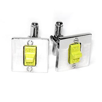 Silver-Tone Men's Cuff Links ON / OFF SWITCH Shaped Cufflinks