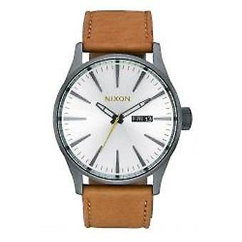 Nixon The Sentry Leather Gunmetal / argent / Tan (A1052741)