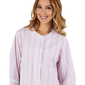 Slenderella HC1224 Women's Stripe Seersucker Pink Dressing Gown Loungewear Bath Robe 3/4 Length Sleeve Robe