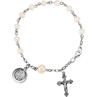 Sterling Silver First Holy Communion Freshwater Cultured Pearls Rosary Bracelet