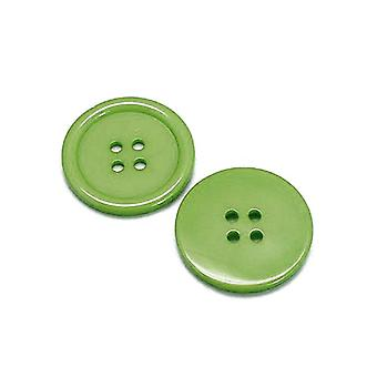Packet 8 x Dull Green Resin 34mm Round 4-Holed Sew On Buttons HA10425