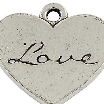 Packet 8 x Antique Silver Tibetan 22mm Love Charm/Pendant ZX14520