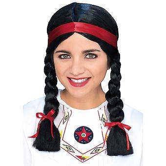 Native American Pocahontas Indian Princess Western Wild West Women Costume Wig