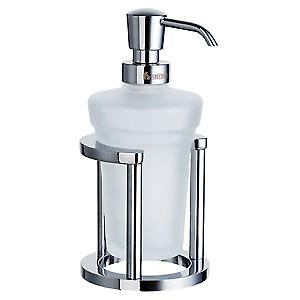 Outline Freestanding Glass Soap Dispenser and Stand - Polished Chrome