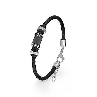 s.Oliver jewel mens bracelet stainless steel leather black 2015068