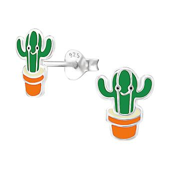 Cactus - 925 Sterling Silver Colourful Ear Studs - W24623x