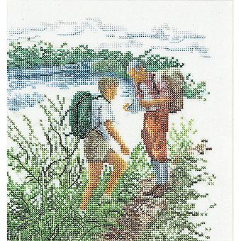 Hiking On Linen Counted Cross Stitch Kit-6.25