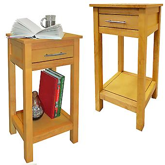 Aspen - 2 Pack - Solid Wood Storage Telephone / End / Bedside Table With Drawer - Light Wood