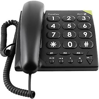doro PhoneEasy 311c Corded Big Button Visual call notification, Hands-free No display Black