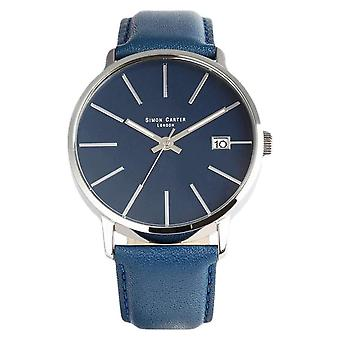 Simon Carter Baton Indices Watch - Blue/Silver