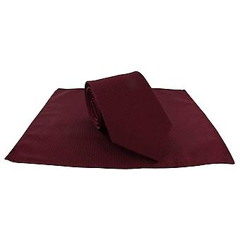 Michelsons of London Semi Plain Tie and Pocket Square Set - Dark Red