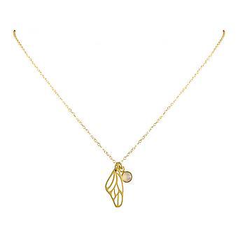 Дамы - колье - кулон - бабочка - крылья - КРЫЛЬЯ - серебра 925 пробы - позолоченные - розовый кварц - 80 см