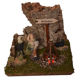 Bethlehem sign Campfire lit cauldron crib Nativity stable Nativity accessories with figures