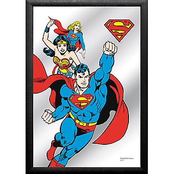 Superman mirror printed comic, multi colored, with black frame in wood.