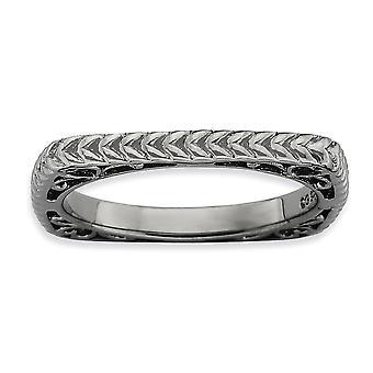 2,25 mm zilver Ruthenium plating Stackable expressies gepolijst zwart-plaat Square Ring - Ringmaat: 5 tot en met 10