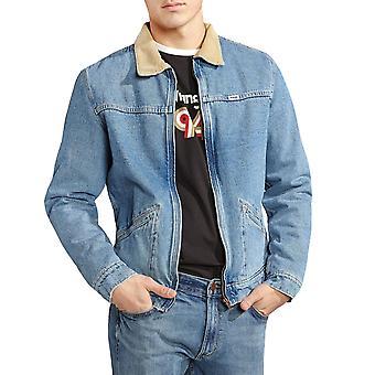 Wrangler Mens Hawkins Casual Long Sleeve Denim Fleece Lined Jacket Top - Blue