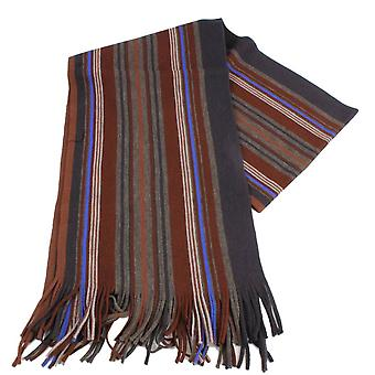 Bassin and Brown Tylecote Stripe Wool Scarf - Brown/Blue