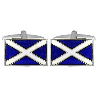 Gemelos bandera escocesa de David Van Hagen - azul/blanco