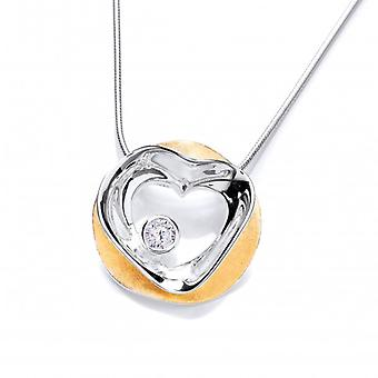 Cavendish Français «Love encerclé» Vermeil plaqué or et argent pendentif sans chaîne