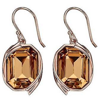 Elements Silver Swarovski Ribbon Detail Earrings - Rose Gold/Gold