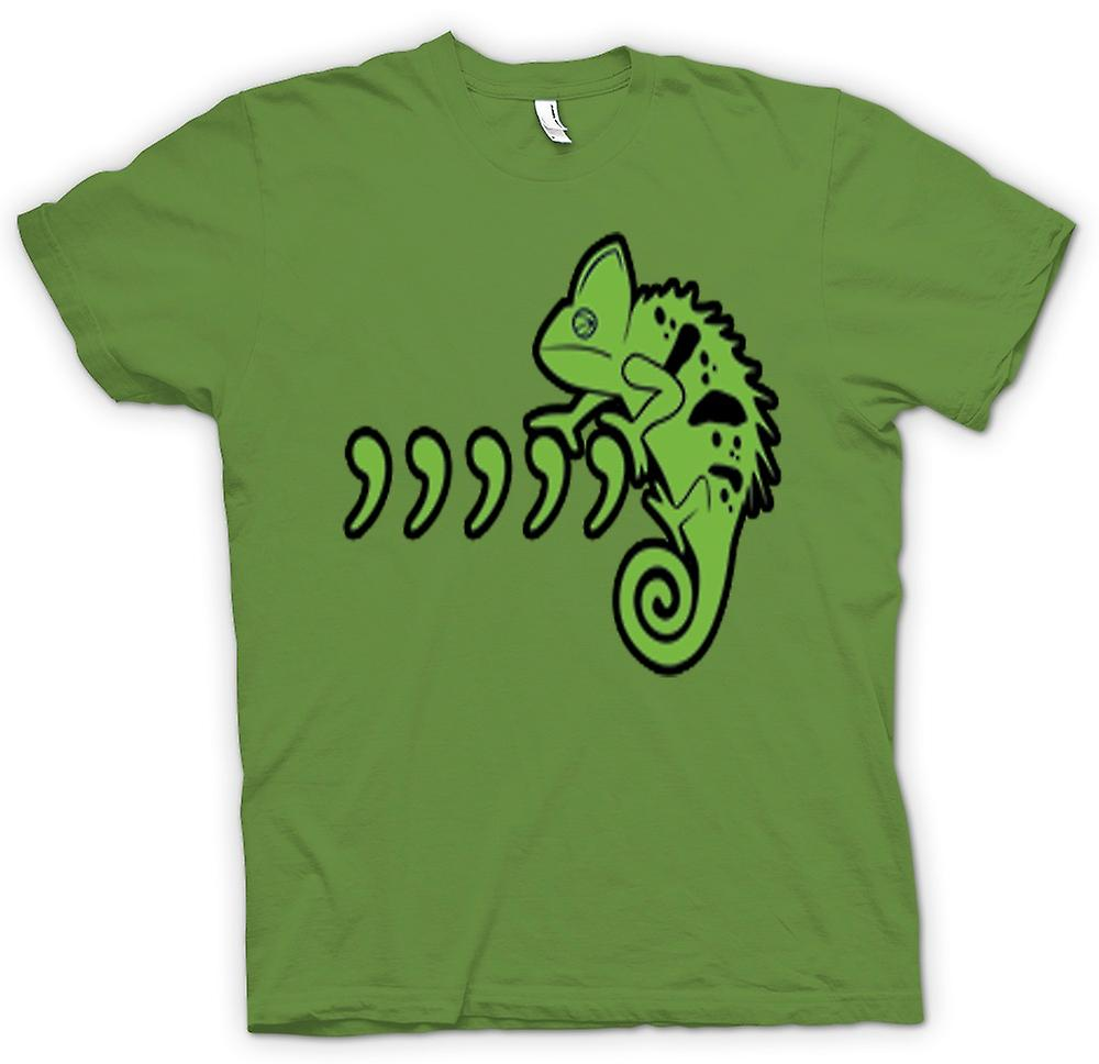 Mens T-shirt - Pet Iguana Lizard And Commas