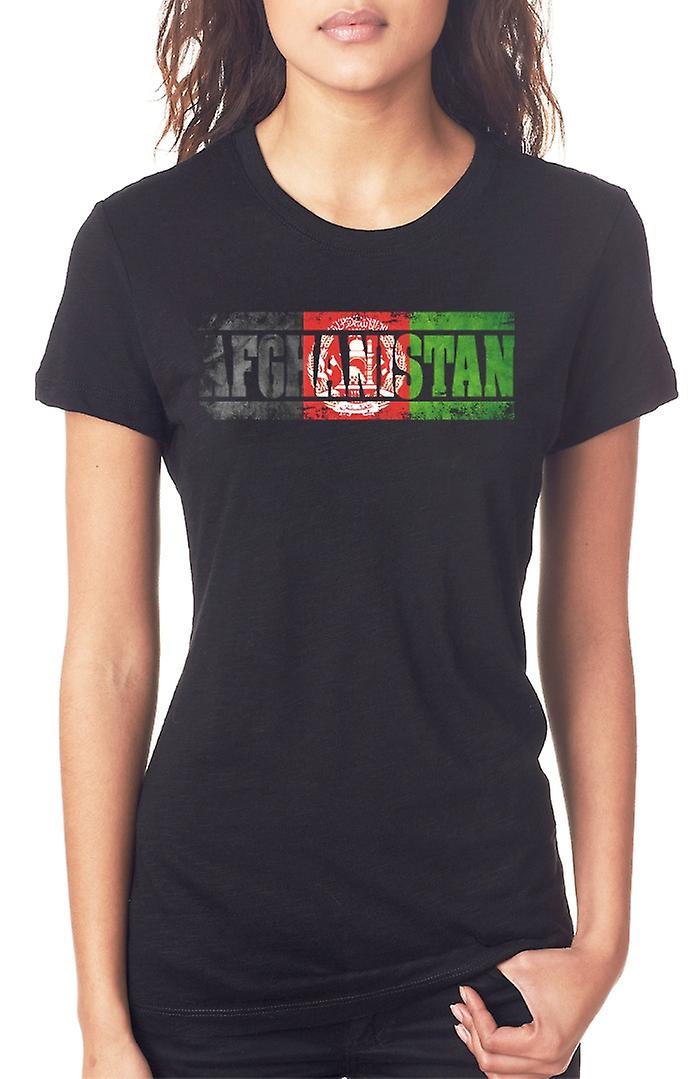 Afghanistan Afghani Flag - Words Ladies T Shirt
