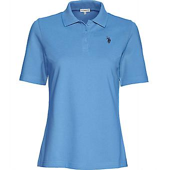 U.S. POLO ASSN. timeless women's short sleeve polo shirt polo shirt light blue
