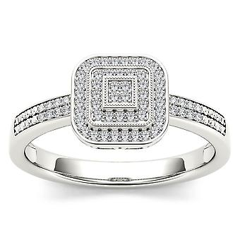 IGI Certified 10k White Gold 0.15 Ct Diamond Halo Vintage Style Engagement Ring