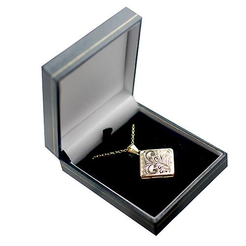 9ct Gold 22mm hand engraved flat diamond shaped Locket with a belcher Chain 16 inches Only Suitable for Children