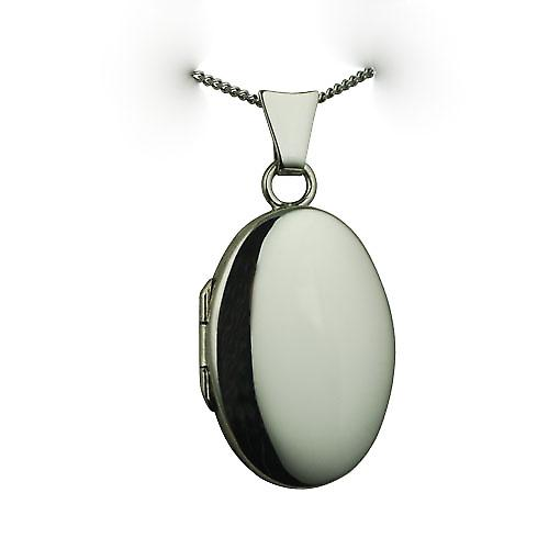 9ct White Gold 22x15mm oval plain Locket with a curb chain
