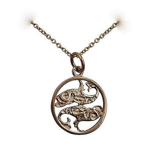 9ct Gold 11mm pierced Pisces Zodiac Pendant with Cable link Chain