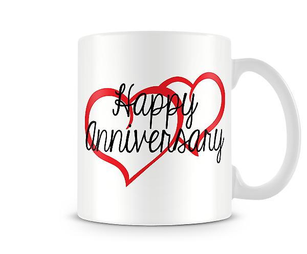 Decorative Writing Happy Anniversary Printed Mug