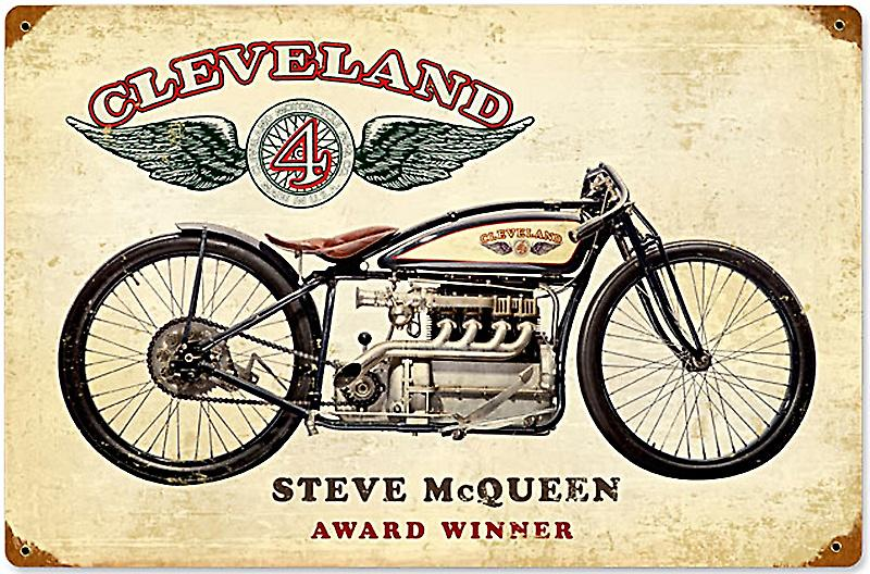 Cleveland Motorcycles Steve McQueen rusted steel sign  (pst 1812)