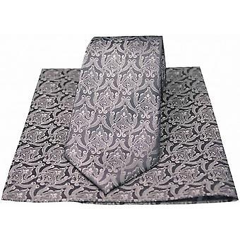Conjunto de pañuelo y corbata de papel tapiz victoriano David Van Hagen - plata/gris