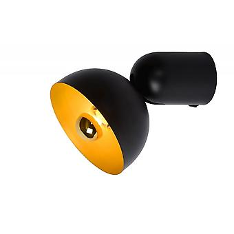 Lucide Vidor Retro Half-Round Metal Black And Gold Wall Light