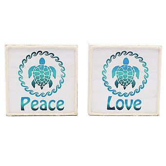 Dennis East Sea Turtles Peace Love Wood Box Signs Set of 2