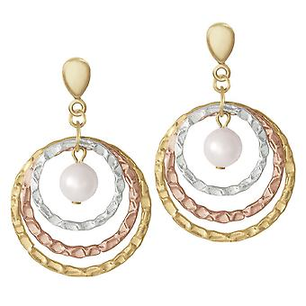 Eternal Collection Wishes Three Tone Gold And Shell Pearl Drop Clip On Earrings