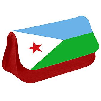 Djibouti Flag Printed Design Pencil Case for Stationary/Cosmetic - 0048 (Red) by i-Tronixs